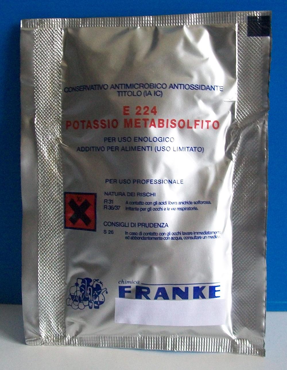 Metabisolfito di potassio - confezione da 25 Kg